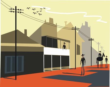 viejo oeste: Ilustraci�n de pueblo viejo oeste
