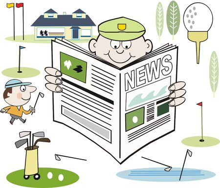 newspaper headline: Golfer news cartoon