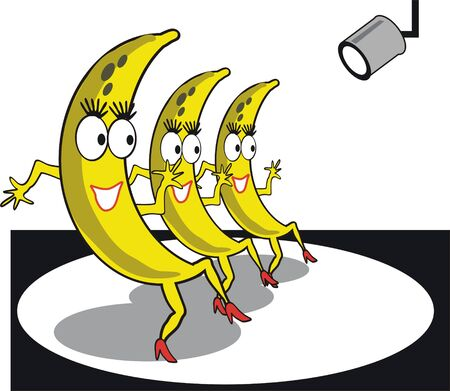 Dancing bananas cartoon Stock Vector - 7883213