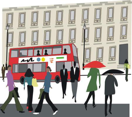 rain window: London city illustration