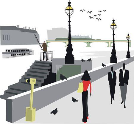 waterway: London embankment illustration Illustration