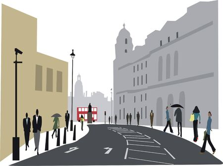 Whitehall London illustration Stock Vector - 8240935