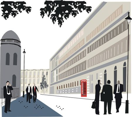 british man: London Whitehall illustration