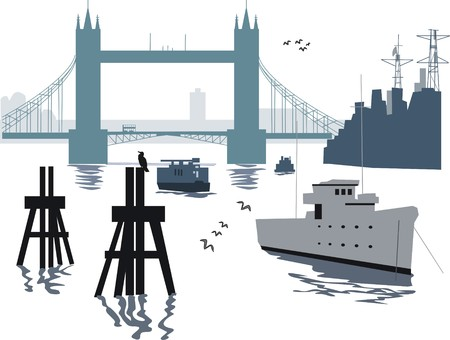 waterway: London bridge illustration Illustration