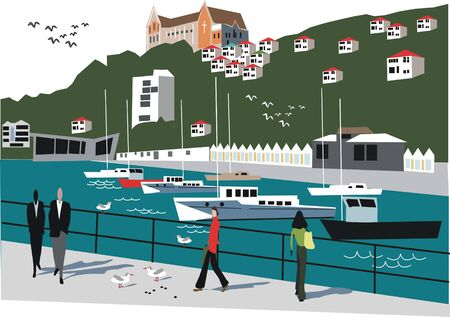 waterfront: New Zealand boat illustration