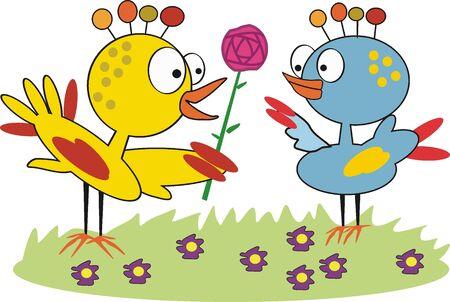 blumen cartoon: Vogel mit Blumen Cartoons