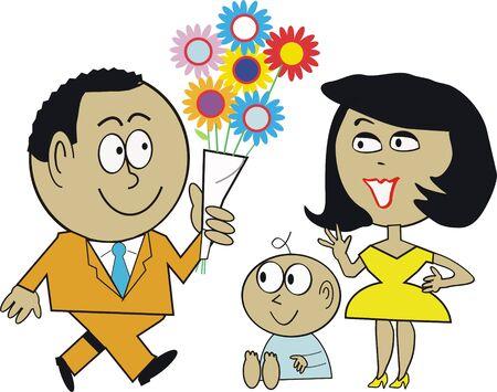 Homme, femme et enfant caricature Banque d'images - 8317503