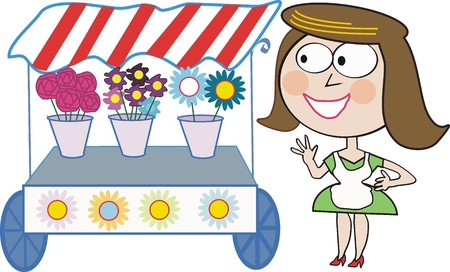 vendors: Woman with flower stall cartoon