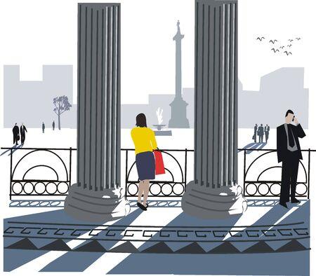 pilastri: Illustrazione di Trafalgar Square di Londra