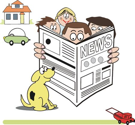 reading news: Family group cartoon Illustration