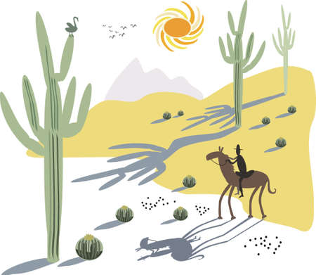 Cactus and cowboy illustration Stock Vector - 8500347