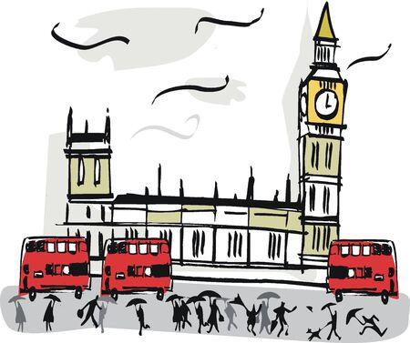 london: Londen Westminster illustratie