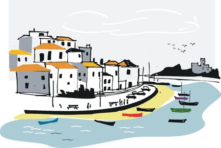 fishing village: Portugal fishing village illustration