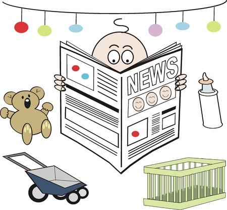 introducing: Baby reading newspaper cartoon Illustration