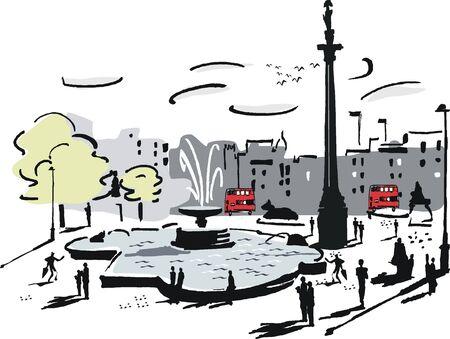 trafalgar: London square illustration