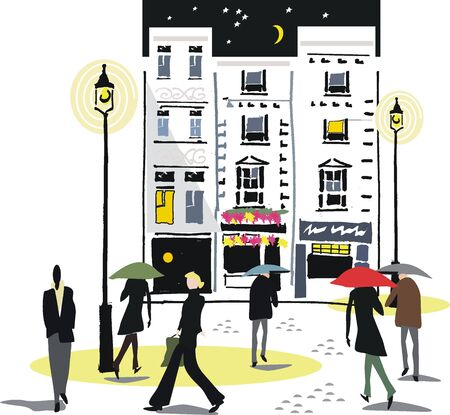 london night: London city illustration