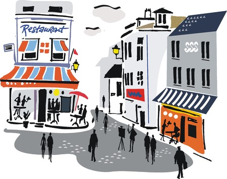 Illustration of Montmartre street scene, Paris. Vector