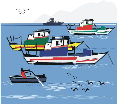 Fishing boats, Portugal illustration Illustration