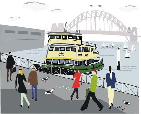 Ilustración de puerto de Sydney con ferry