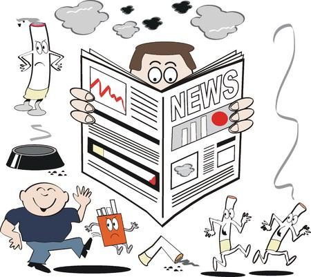 healthy habits: dibujos animados de salud de fumar