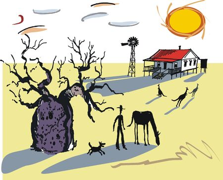 australian outback: Australian outback illustration Illustration