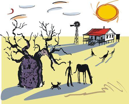 australian outback: Ilustraci�n de outback australiano