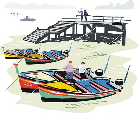 pier: Fishing boats in harbor, Portugal illustration