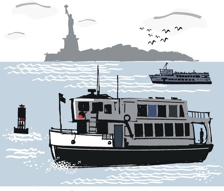 New York ferry illustration Vector