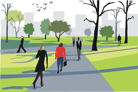 city park: City workers walking through park illustration