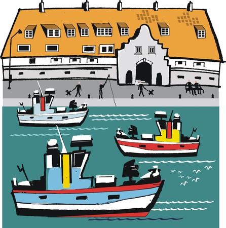 calais: Calais boat harbor illustration
