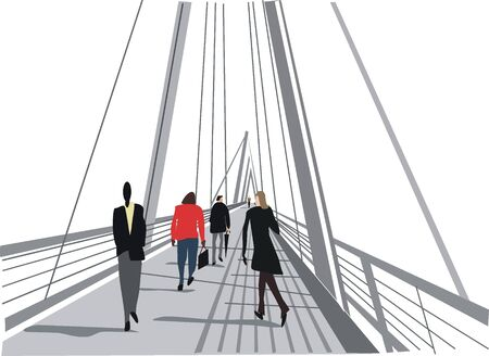informal: London pedestrian bridge illustration