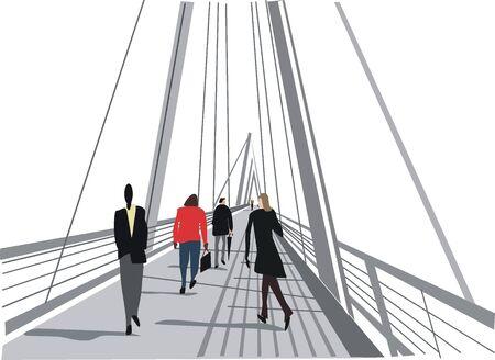 pedestrian walkway: London pedestrian bridge illustration