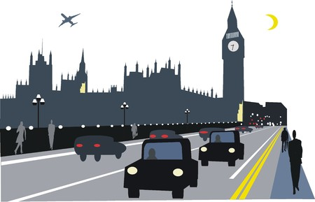 city of westminster: Westminster Bridge, London by night illustration Illustration