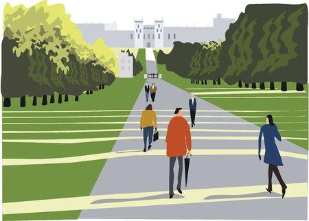 Windsor castle and park illustration, England Stock Vector - 8677421