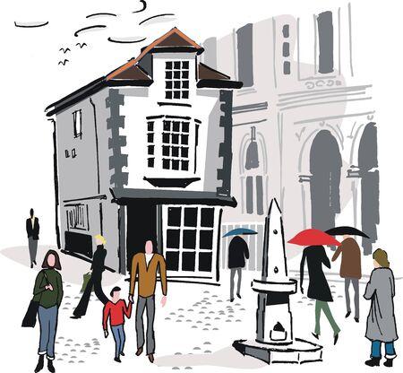 Old Windsor building illustration
