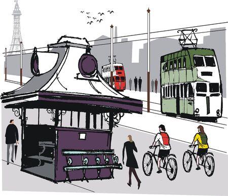 animal shelter: Blackpool tram illustration