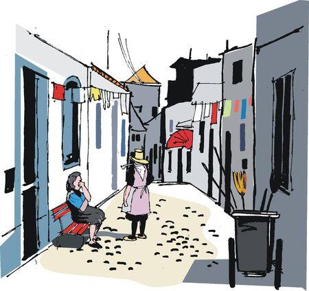 old town: Portugal village street illustration