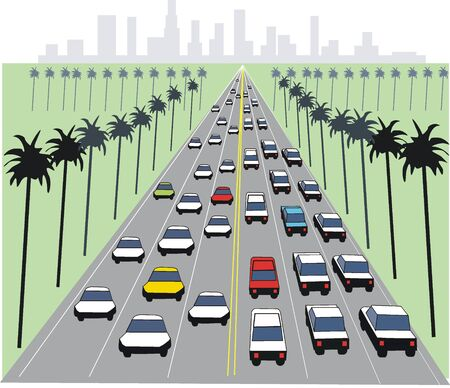 Los Angeles freeway illustration Vector