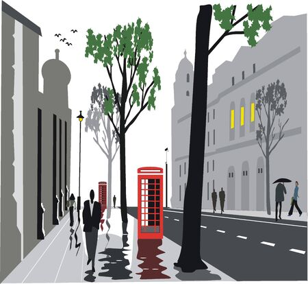 London city street illustration Vector