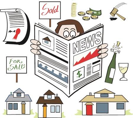 announcing: Real Estate News cartoon Illustration