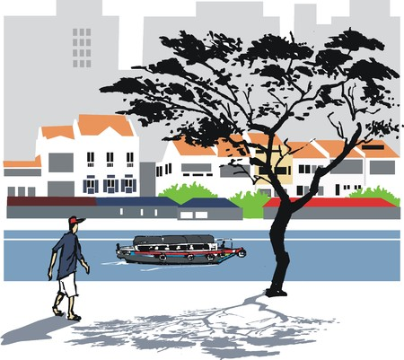 river vector: Singapore river vector illustration Illustration