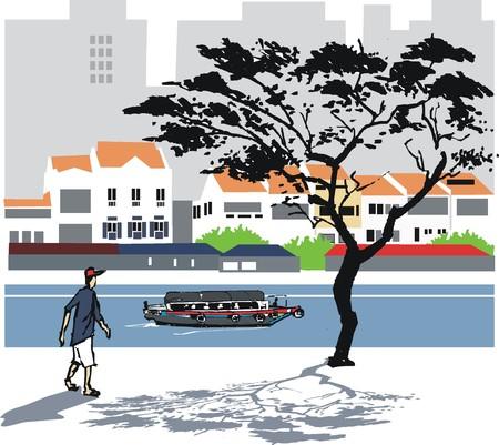 ferry boat: Singapore river vector illustration Illustration