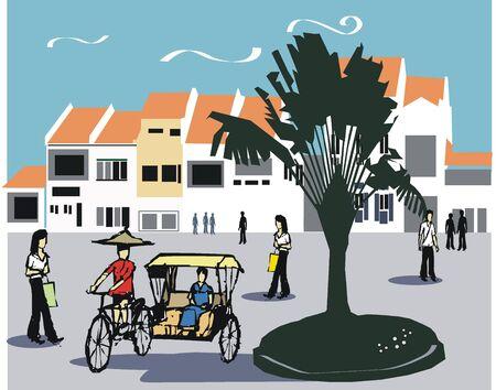 singapore city: Singapore rickshaw illustration