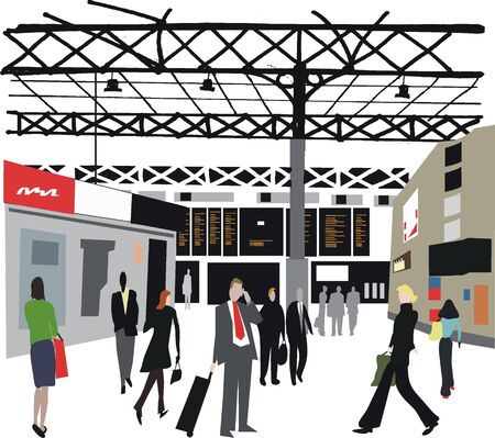 railway station: London railway station illustration