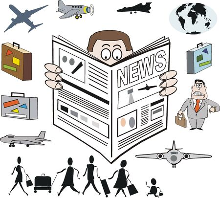 Airport news cartoon Vector