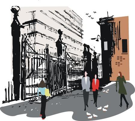 wharf: Old wharf gates illustration, Wellington