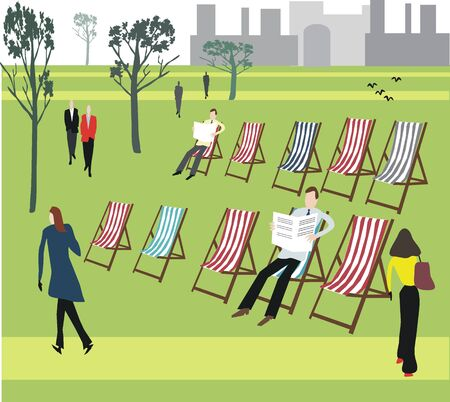 informal: London park with deckchairs illustration Illustration