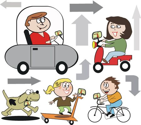 navigating: Family navigating cartoon