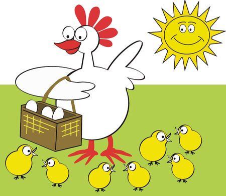 Caricatura de gallina feliz Foto de archivo - 9048697