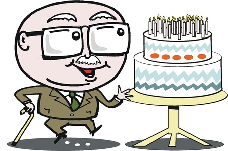 humorous: Grandfather with birthday cake cartoon